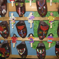 Gambian-masks-made-from-plastic-milk-containers-they-are-now-herb-planters